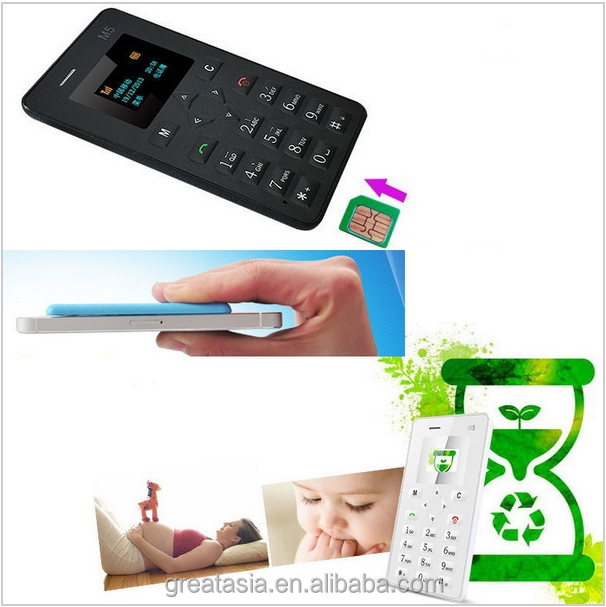 Original AEKU M5 Mini Phone Student Pocket Card Cell Phones 4.5mm Ultra Thin Qual Band Low Radiation Russian Language