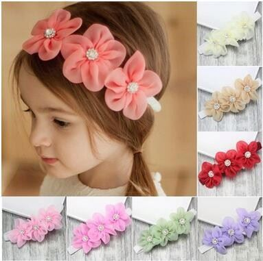 20 Colors Baby Girls Handmade Headwear Chiffon Rhinestone Flower Toddler Headband Bow Headband