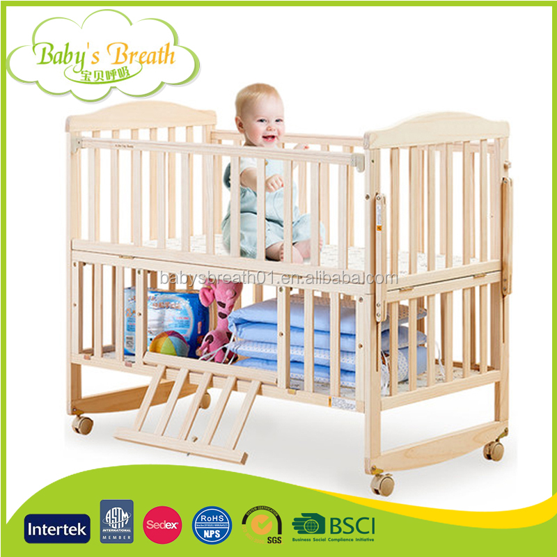 WBC-74 Baby Cot Luxury Wooden China Children's Swing Bed Baby's Bed Extender for Baby