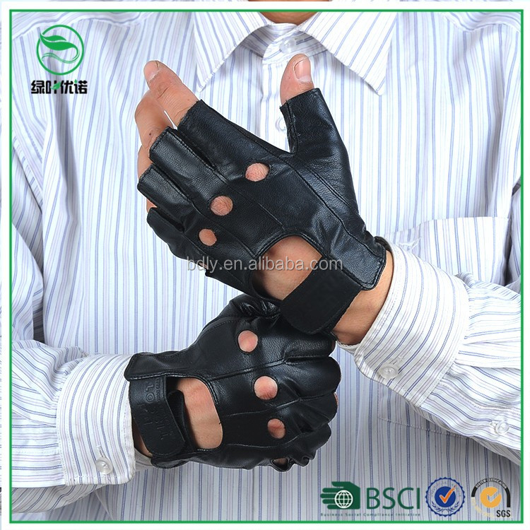Cut Finger Driving Leather Gloves for Men