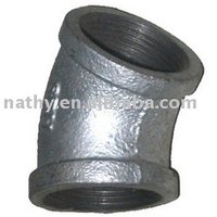 Hot dip galvanized malleable iron pipe fittings- elbow 45 degree