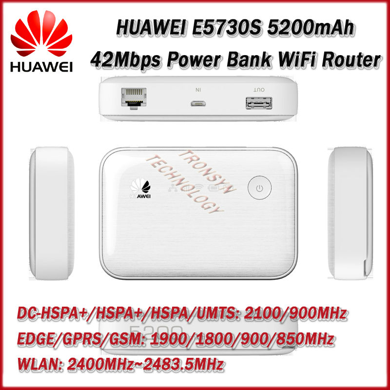 2014 New Arrival HUAWEI E5730S Mew King DC-HSPA+ 42Mbp 5200mAh Power Bank 3G Wireless Fixed Line Dual Acess Wifi Router Hotspot