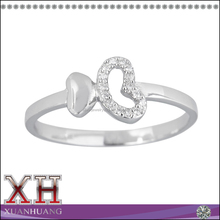 Fancy Design Sterling Silver Micropave CZ Double Heart Ring for Ladies