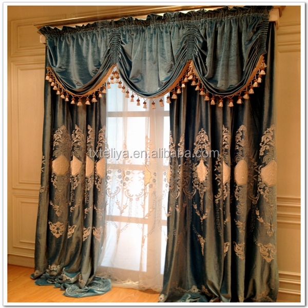 Embroidered luxury curtain fabric