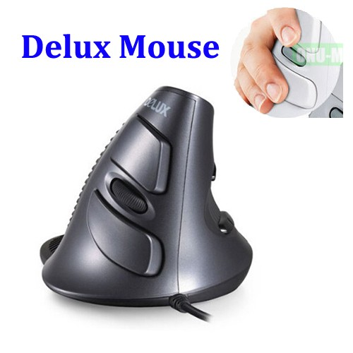 Wired Vertical Mouse Original Delux M618 Ergonomic USB 1600 DPI Optical Right Hand Upright Healthy Mice