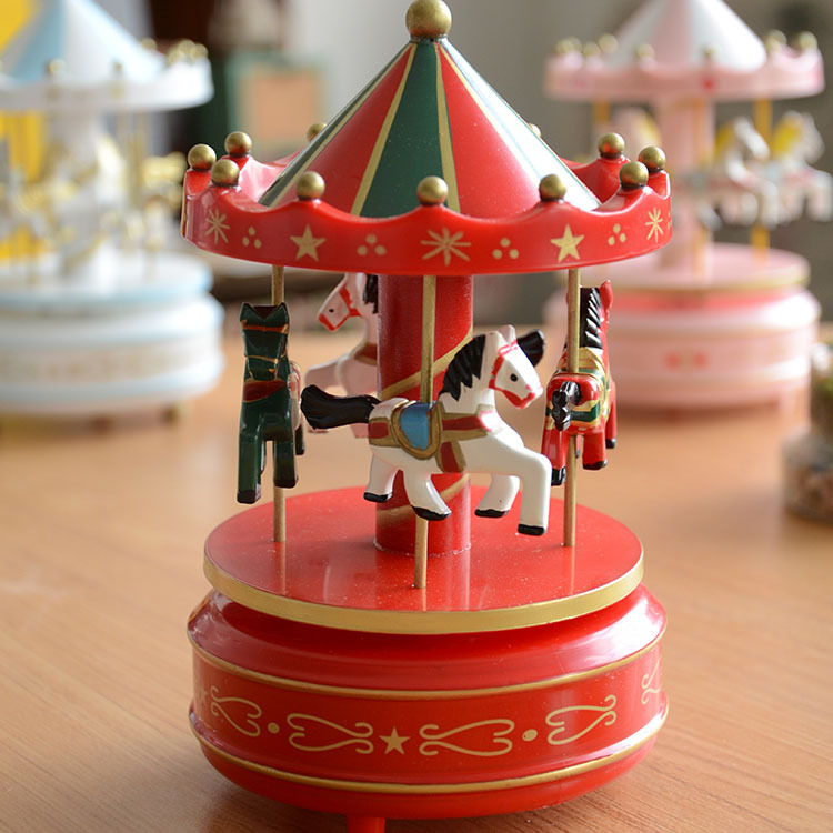 Carousel music box horses merry-go-round music box
