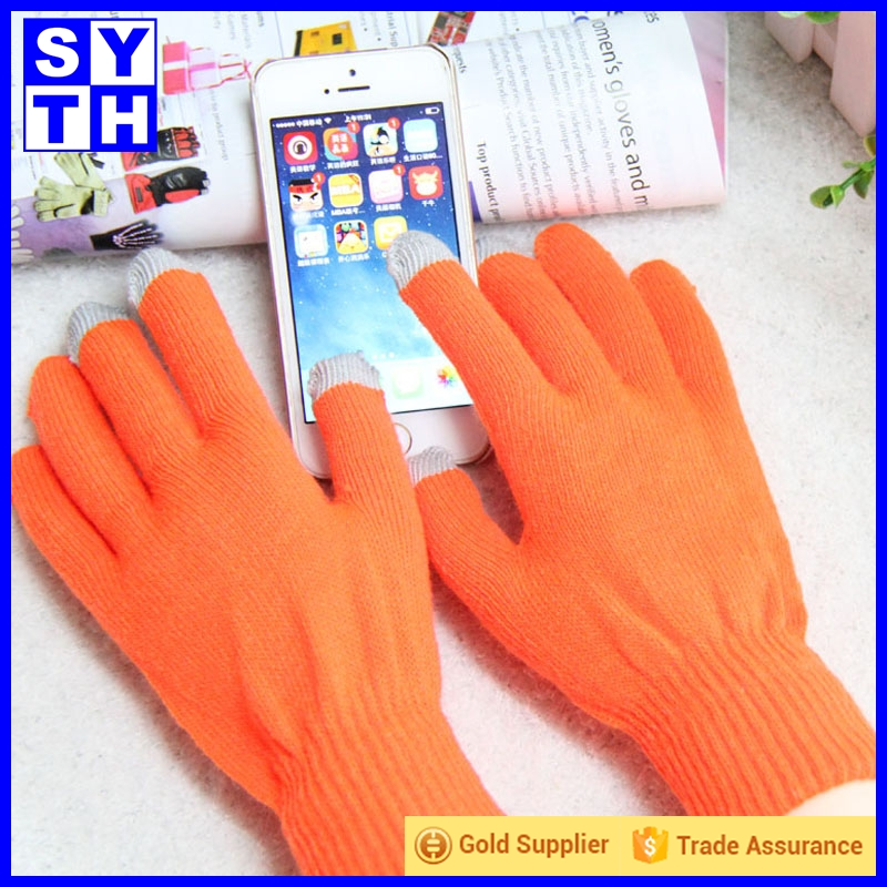 Amazon supplier custom jacquard smart phone gloves pink winter three fingers touch screen gloves