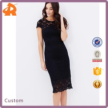 High Fashion Design Ladies Night Dress Sex Cap Sleeves Bodycon Lace Dress