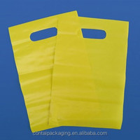 Yellow unprinting die cut plastic PE shopping bag carrier with top handle