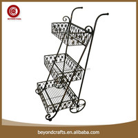 High quality well sale convenient upscale black wrought iron cd display racks