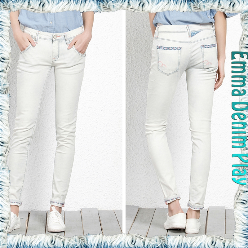 Navy High Waisted Ripped Knee Skinny Jeans with white color for special women