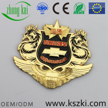 Zibo Wedding Motorcade metal car badge with car logo, custom pattern and shape design, gold plate and black&red paint