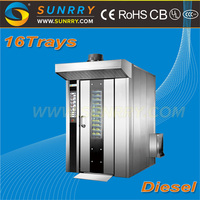 Bakery rotary diesel oven/rotary baking oven prices/bakery rotary rack ovens for sale for CE(SY-RV16C SUNRRY)