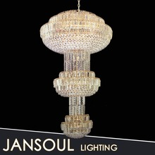 Big decoration illumination with 3 layers crystal ball flash lobby chandelier lighting