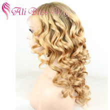 24 Inch Long Brazilian Human Hair Ombre Color Two Tone Light Brown Roots 613 Blonde Curly Full Lace Wigs for White Women