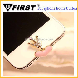 Rhinestone crown Home button sticker for iphone,for ipad