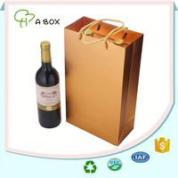 High quality custom printing paper gift wine bottle bags