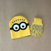cartoon style minions hats and glove sets Despicable Me cartoon caps glove fashionable children hats and glove
