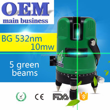 New multi line rotating 4v 1h self leveling green laser 10 mw line