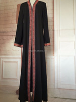China Abaya Manufacturer jubah muslimah Kaftan Factory Bulk Wholesale Maxi Dresses Abaya Collection Black front open abaya