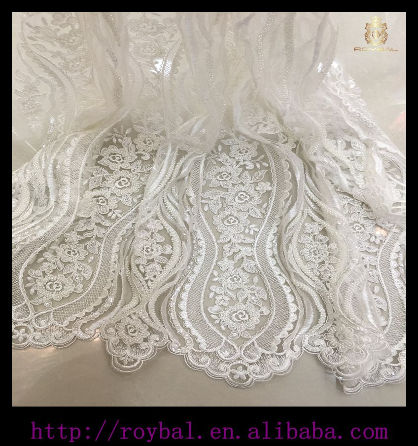 High quality white lace fabric african tulle 2016 France Swiss lace dress fabric