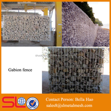 Galvanized square gabion cages, gabion retaining Prices, stone fence