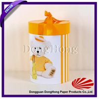 Glossy lovely cylinder gift paper box with a ribbon bow