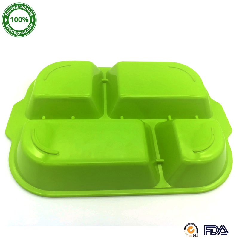 Green Nature Deep School Bamboo Fiber Service Plates Eco-friendly Lunch Tray