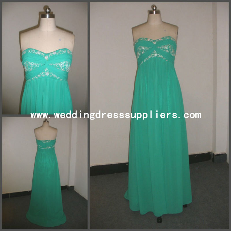 RLD088 Sweetheart Backless Embroidery Corset Long Green Chiffon Hot Sale Sexy Prom Girl Dress