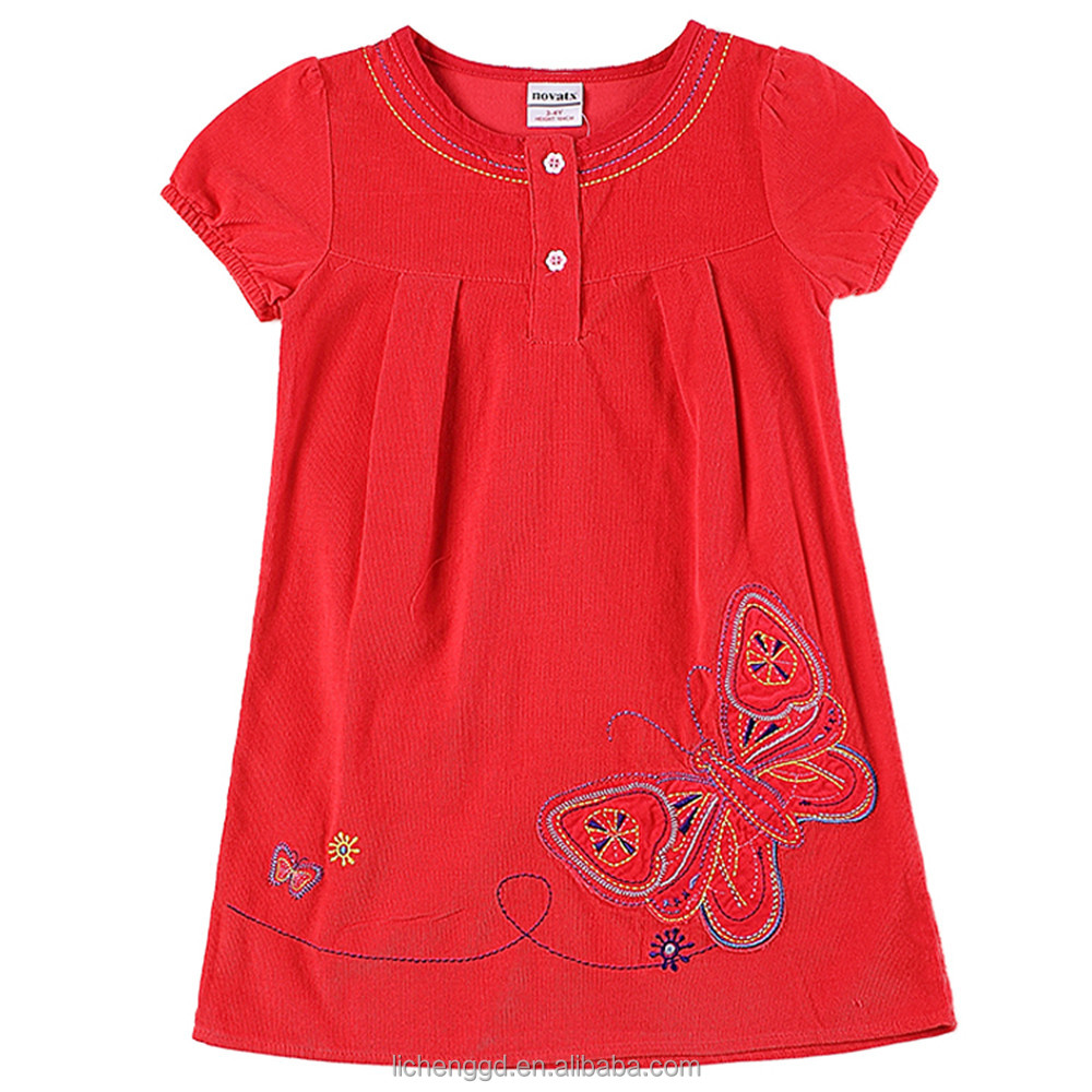 (H6031D) 2-6Y 2016 Corduroy baby frocks baby girls christmas dresses child clothes summer dress