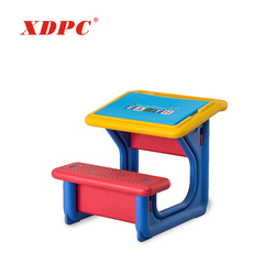 Portable kindergarten kids cartoon study attached school desks and chair