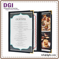 low price customized design 1 page pu leather menu cover and sample menu card