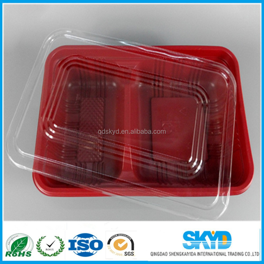 plastic food containers restaurant 2 holes fast food serving tray