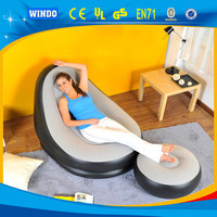 EN71 PVC Flocking inflatable sofa with footrest air sofa chair inflatable sofa chair