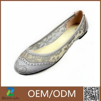 Fashionable high quality ladies leather soles flat shoes GuangZhou made in China