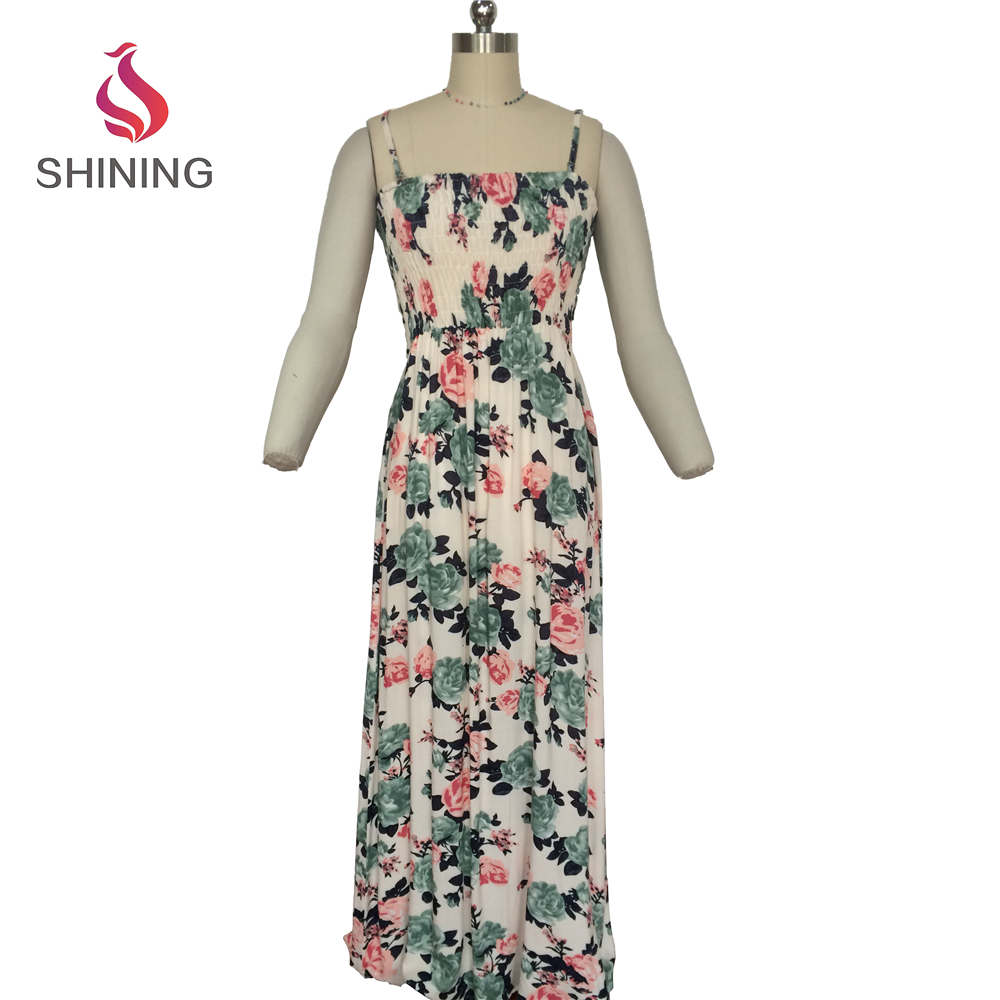 100% RAYON Breathable summer printing women maxi dress beach long dress