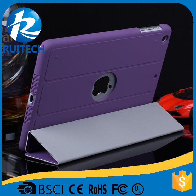 Back Hole Leather Fold Support Cover For iPad mini 2 Smart Case