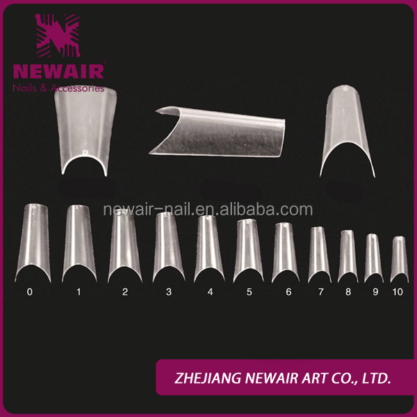 Professional ABS completely curved clear false nail tips