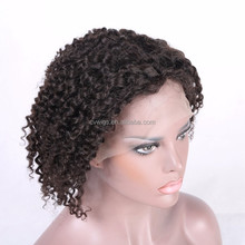 Best quality short kinky curly full lace human hair wig