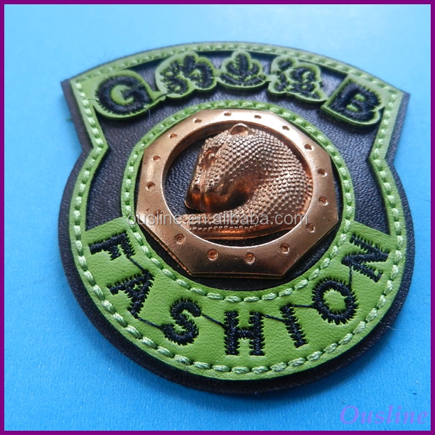 Embossed Jean Metal Logo Plate Real Leather Patches PU Patch For Hats
