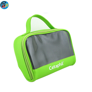 Wholesale stylish Nylon 420D toiletry bags with transparent window for travelling