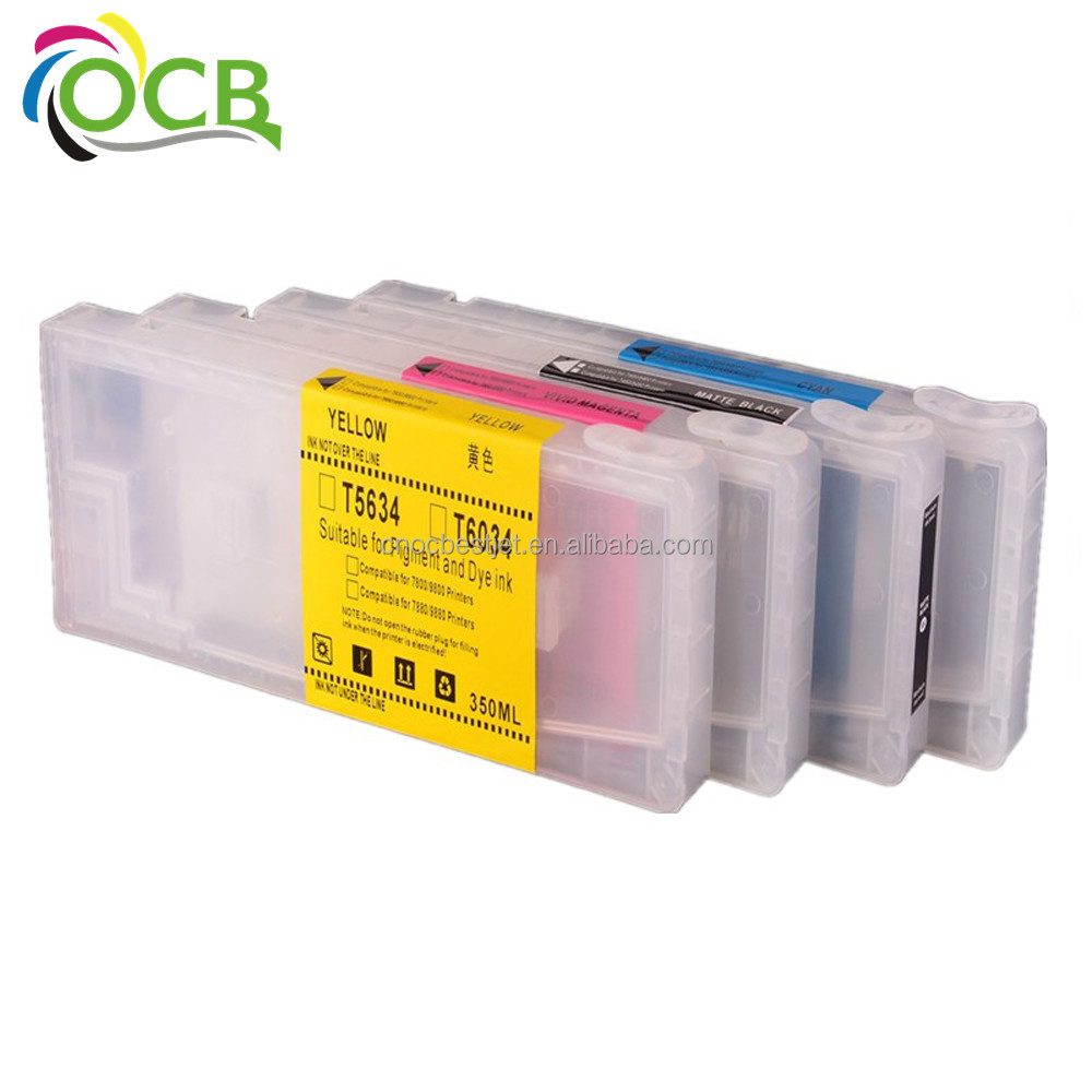 4 Colors 350ML/PC Empty Refillable Ink Cartridge With Chip For Epson Stylus Pro 7400 9400 Printer