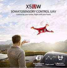 RED COLOR SYMA X5UW RC Quadcopter Drone With 720P 2.0MP HD Camera 2.4G 4CH 6Axis Smart Helicopter Height Hold Path Flight