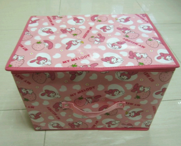 2014 Newest Polyster Big Size New Design Portable Cute Fruit Animals Pictures Storage Box With Compartment