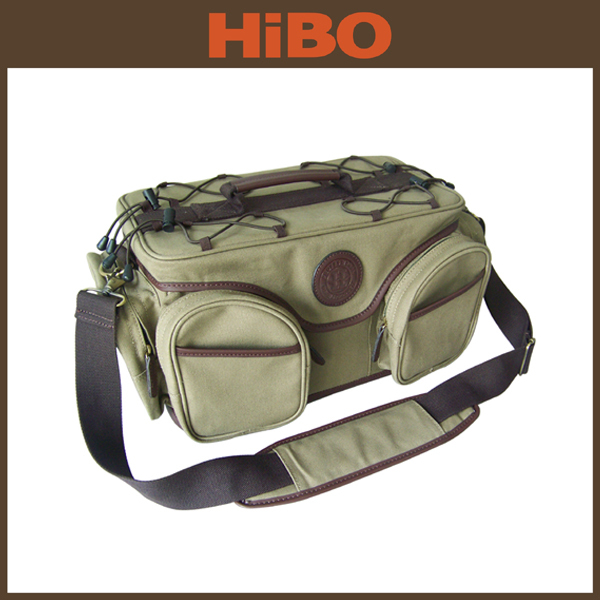 canvas and leather waterproof fishing tackle bag fishing supplies from china