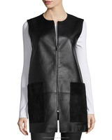 Womens Leather Vest with Suede Pockets