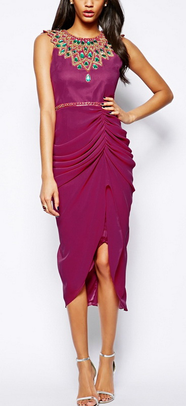 Women's Danica Midi Dress with Embellished Neck