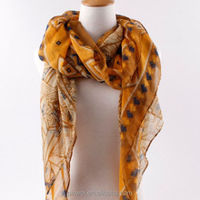 fashion handmade stripe polyester voile scarf PWS0032