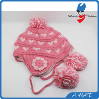 colorful warm female winter hat with strings