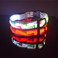 LED Flashing Christmas Light Nylon Dog Collar for Pet